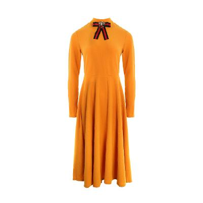 ribbon point long dress orange